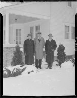 Consumers' Power Company, Niles and Cecil Hagelshaw Farm, men in front of house