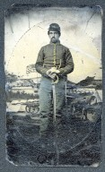 [Portrait of M. W. Wilcox [enhanced], U. S. Civil War soldier portrait [enhanced]]