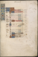 Calendar from a Book of Hours