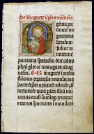 Saint Agnes holding her attribute, historiated initial on a Leaf from a Prayer Book