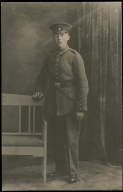 Picture postcard of standing German soldier, World War I