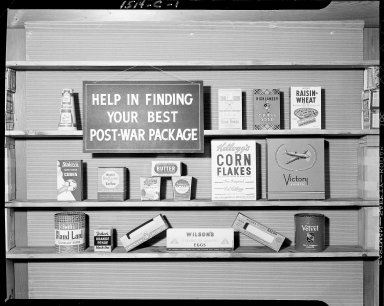 Display of post-war packaging