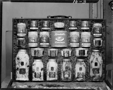 Randall's canned meats in salesman's sample case