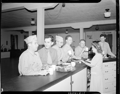 Soldiers being served at U.S.O.