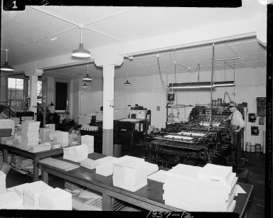 Doubleday & Brothers Company, interior, with printing press