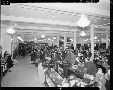 Gilmore Brothers department store, interior, with Christmas shoppers