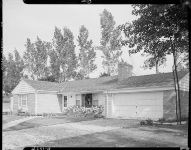 Miller Lumber Company, home exterior, brick ranch house with two car garage