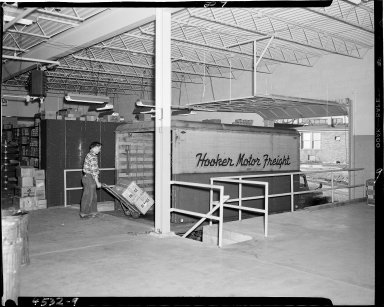 Klose Electric Company, man at loading dock, Kalamazoo, MI