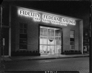 Fidelity Federal Savings, exterior, front view, at night