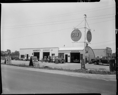 Gulf Service Station, Speck, owner, exterior