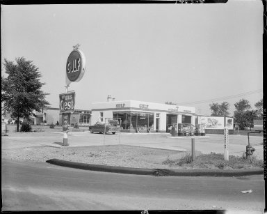 Gulf Service Station, Howard, owner, exterior