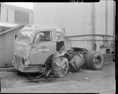 National Food Stores semi-tractor truck after accident