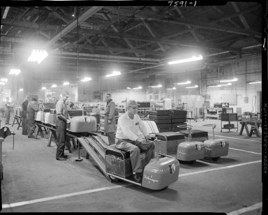 Kalamazoo Manufacturing Company, interior, men working on Run-A-Bout assembly line