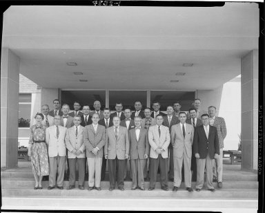 Western Michigan University, Bernhard Student Center, exterior, unidentified group of people in front of the building
