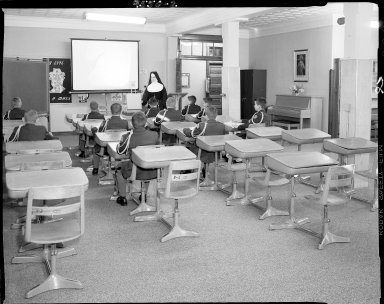 Barbour Hall Junior Military Academy, interior, nun and students in classroom
