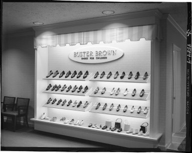 V&A Bootery, interior, Buster Brown shoe display