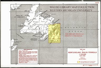 Index map of Newfoundland: Avalon Penninsula 1:125,000