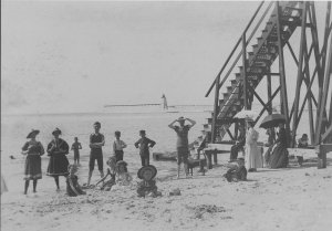 Toboggan slide, Beach and lighthouse, Silver Beach photograph