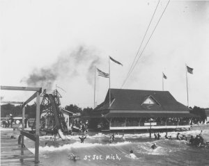 Building with Flags and 1898 toboggan run, Silver Beach photograph