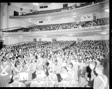 Crowd at the Chenery Auditorium for the Army Navy E Award Ceremony