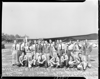 Western Michigan Flying Service, group portrait of airplane pilots