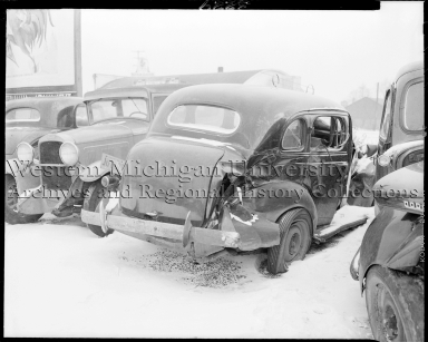 Damaged Studebaker at the salvage yard
