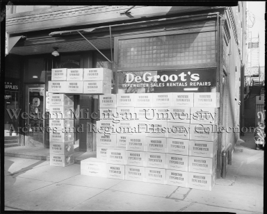 DeGroot's, exterior with typewriters stacked in front of display window
