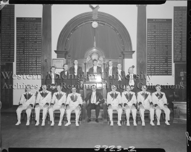 Group portrait of masons at the Masonic Temple