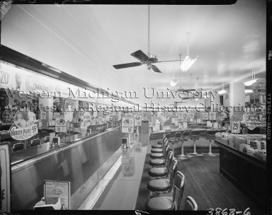 Kresge Diner and Department Store, interior, lunch counter