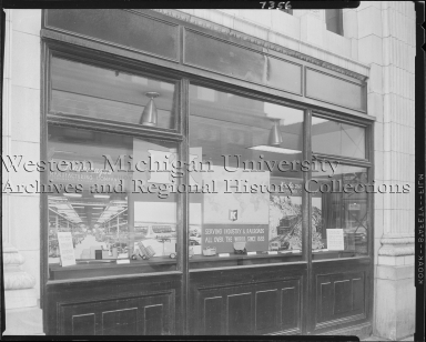 Kalamazoo Manufacturing Company, products display window at First National Bank