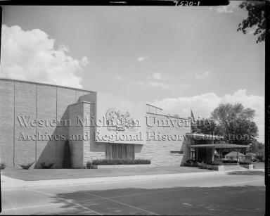 Sturges-Young Civic Auditorium, exterior with stone façade