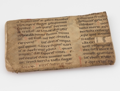 Liturgical Manuscript Leaf [binding fragment], spine and front cover