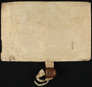 Conveyance, 1635, of Lands to Thomas Jackson, folded, front