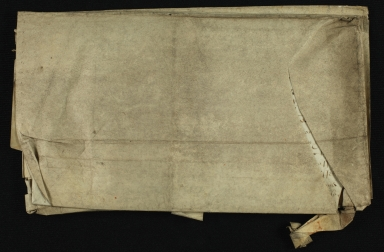 Lease, 1625, of Land in Great Abington to Thomas Warde, folded, back