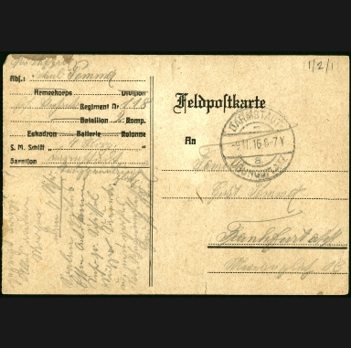 Paul Pommer correspondence, 1916-11-18, World War I