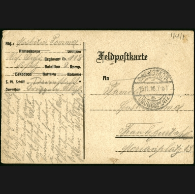 Paul Pommer correspondence, 1916-11-14, World War I