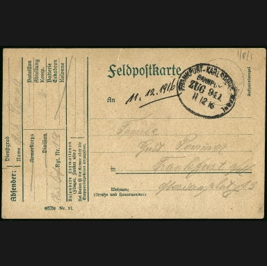 Paul Pommer correspondence, 1916-12-11, World War I