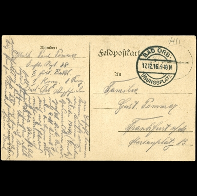Paul Pommer correspondence, 1916-12-17, World War I