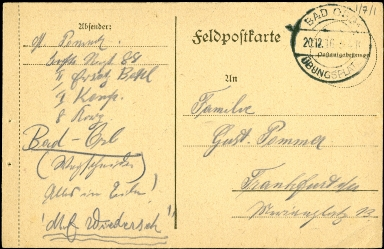 Paul Pommer correspondence, 1916-12-20, World War I