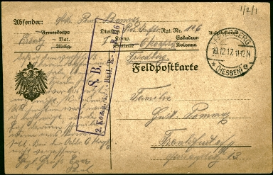 Paul Pommer correspondence, 1917-12-19, World War I