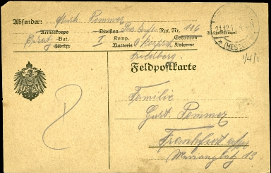 Paul Pommer correspondence, 1917-12-20, World War I