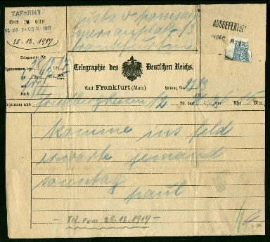 Paul Pommer correspondence, 1917-12-28, World War I