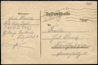 Paul Pommer correspondence, 1918-01-18, World War I