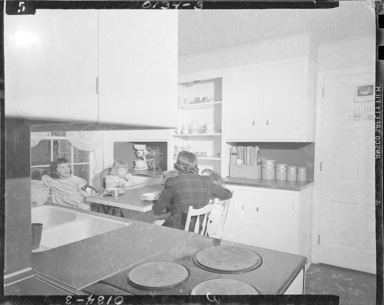 Domestic interior, kitchen design demonstrating fold down table