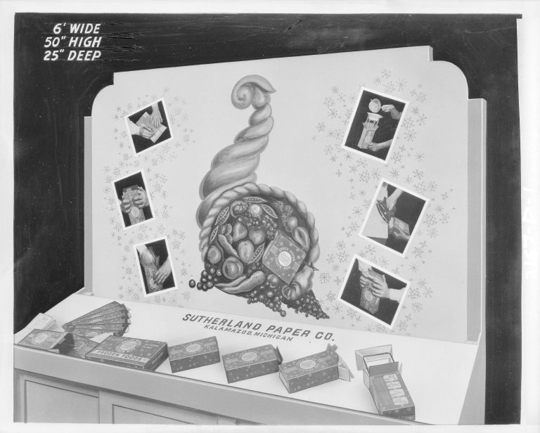 """Sutherland Paper Company, exhibit display, """"Space Saver Locker Box"""" for freezing food"""