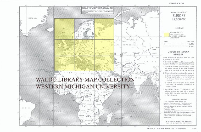 Index to maps of Europe 1:2,000,000
