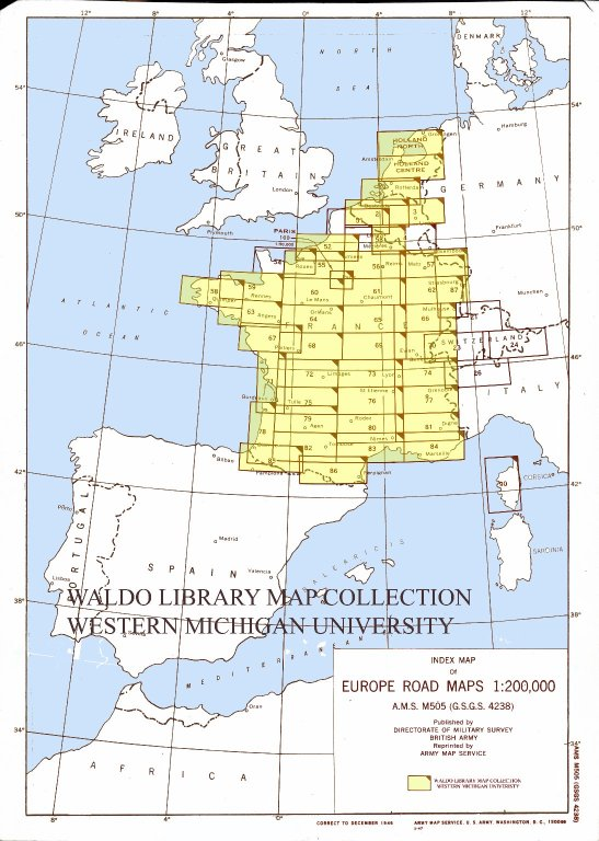 Index map of Europe road maps 1:200,000