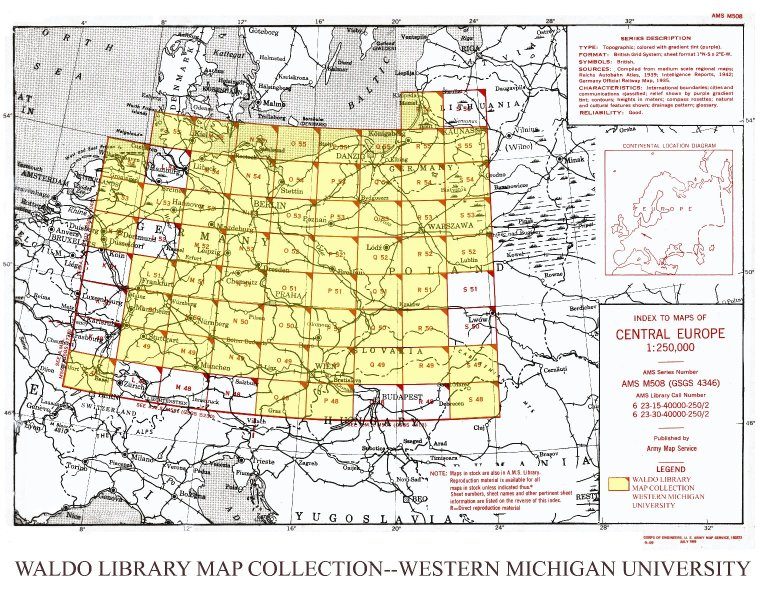 Index to maps of Central Europe 1:250,000