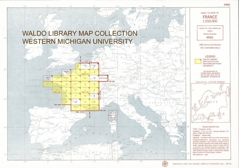 Index to maps of France 1:250,000