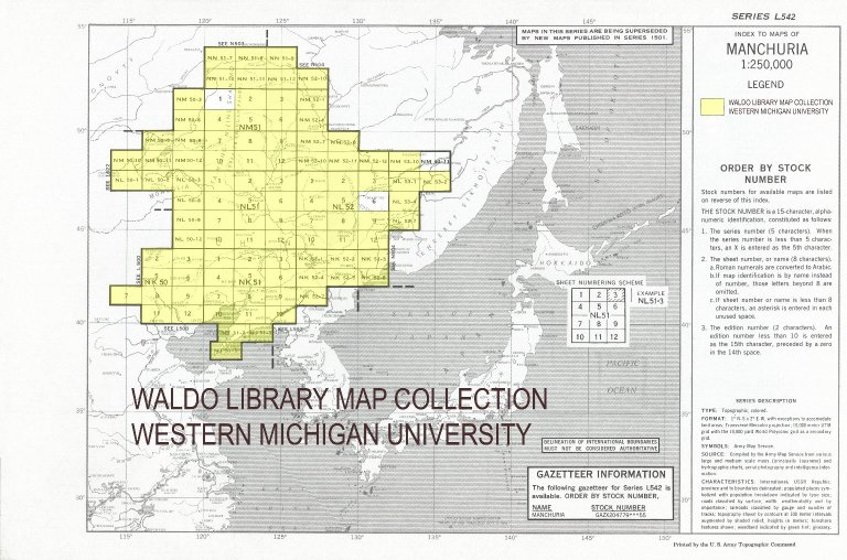 Index to maps of Manchuria 1:250,000